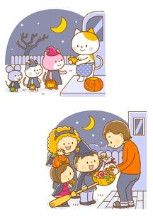 ハロウィンの動物たち、ハロウィンのお菓子をもらう子供たちのイラスト素材 [FYI02836138]