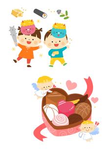 豆まきをするこどもたち、バレンタインチョコレートと天使のイラスト素材 [FYI02836139]