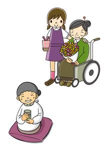 敬老の日にプレゼントを渡すこどもとおばあちゃんのイラスト素材 [FYI02836145]