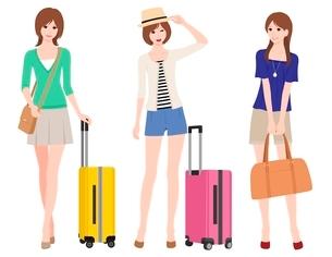 旅行(女性 3ポーズ)のイラスト素材 [FYI02836147]