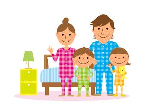 寝室とパジャマを着た家族のイラスト素材 [FYI02836151]