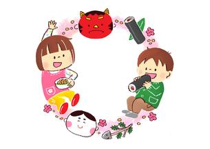 節分の鬼と豆まきをする子供と恵方巻きのイラスト素材 [FYI02836155]