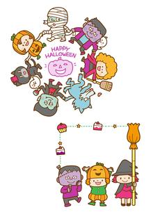 ハロウィンのモンスターと仮装する子供たちのイラスト素材 [FYI02836166]