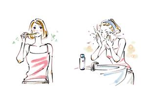 歯を磨く女性と洗顔をする女性のイラスト素材 [FYI02836167]