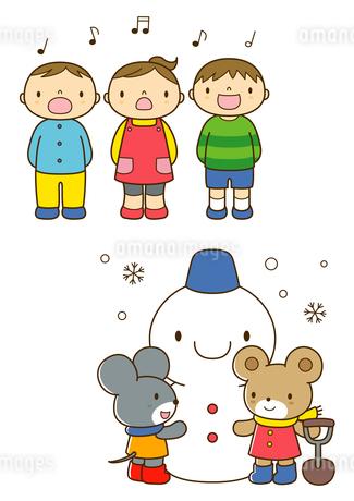 うたを歌う保育園児と雪だるまを作るネズミとクマのイラスト素材 [FYI02836174]