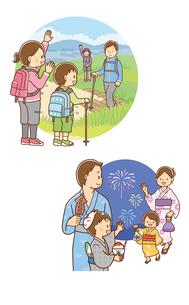 トレッキングをする家族、夏祭り花火見物をする家族のイラスト素材 [FYI02836175]