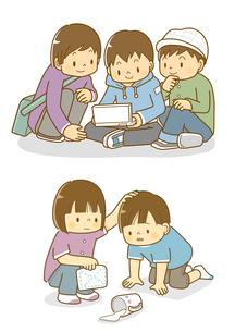 ゲームをする子供たちと牛乳をこぼす子供のイラスト素材 [FYI02836200]
