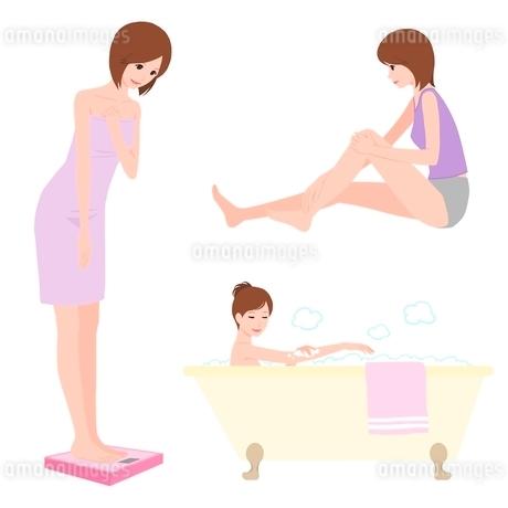 体重をはかる、マッサージ、入浴シーンの女性のイラスト素材 [FYI02836209]