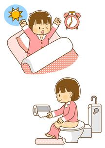 朝起きる女の子、トイレに行く女の子のイラスト素材 [FYI02836212]