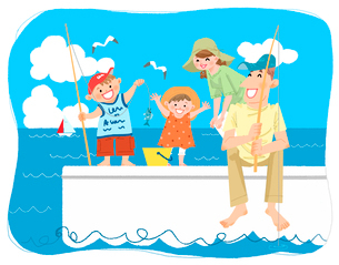 夏休みの思い出 海釣りのイラスト素材 [FYI02836247]