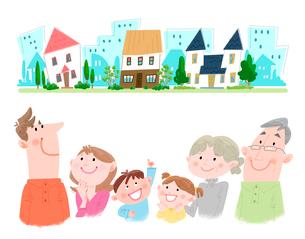 家族の住む町のイラスト素材 [FYI02836276]