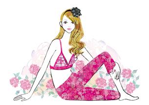 バラと横座りの女性のイラスト素材 [FYI02836285]