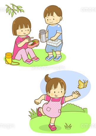 外でお弁当を食べる子供とチョウチョを追いかける子のイラスト素材 [FYI02836287]