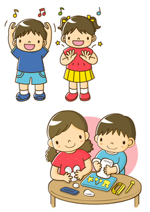手あそびをする幼稚園児と粘土であそぶ子供たちのイラスト素材 [FYI02836295]