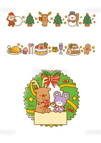 サンタクロースとツリー、ケーキとチキン、クリスマスリースのイラスト素材 [FYI02836307]