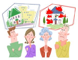 地震保険と火災保険と家族のイラスト素材 [FYI02836322]