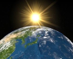 地球日本アップと太陽の写真素材 [FYI02836386]