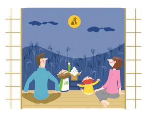 お月見の家族のイラスト素材 [FYI02836393]