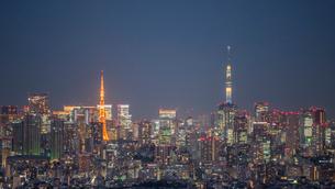 東京タワーと東京スカツリーライトアップ夜景の写真素材 [FYI02836634]