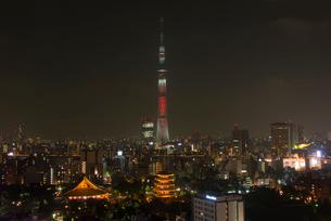 浅草寺と東京スカイツリーライトアップ(キャンドルツリー)の写真素材 [FYI02836663]