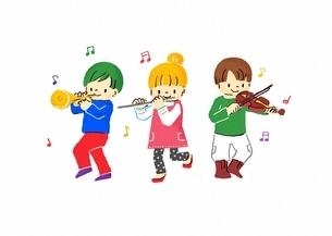 楽器を演奏するこどもたちのイラスト素材 [FYI02836695]