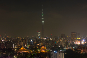 浅草寺と東京スカイツリーライトアップ(防災の日)の写真素材 [FYI02836747]