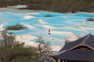 光を浴びて青く輝く中国黄龍・五彩池と黄龍寺の写真素材 [FYI02837092]