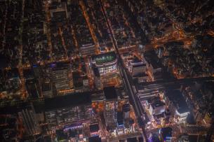 秋葉原の夜景空撮の写真素材 [FYI02837432]