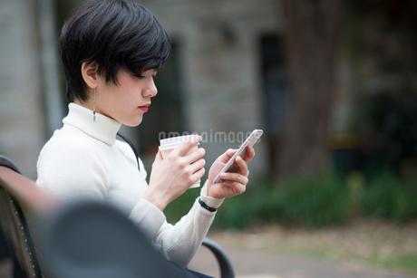 ベンチでスマホを見ている女性の写真素材 [FYI02838152]