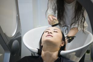美容院で髪を洗っている女性の写真素材 [FYI02838183]