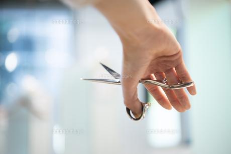ハサミを持っている美容師の手元の写真素材 [FYI02838254]