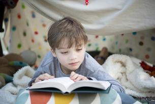 シーツで作ったテントの中で本を読んでいる男の子の写真素材 [FYI02838318]
