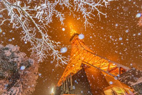 東京タワーライトアップと大雪の写真素材 [FYI02838481]