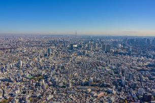 ヘリコプターから遠景の東京スカイツリーを望むの写真素材 [FYI02838539]