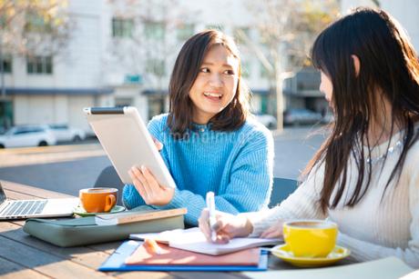 タブレットを見ながら勉強している2人の写真素材 [FYI02838598]