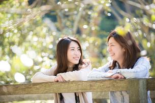 緑の中で話をしている女性2人の写真素材 [FYI02839041]