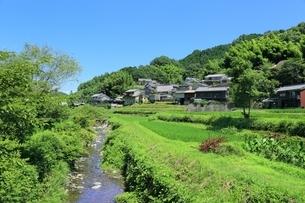稲渕の集落と飛鳥川の写真素材 [FYI02839713]