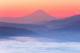 高ボッチ高原より朝焼けの富士山と雲海の写真素材 [FYI02839983]