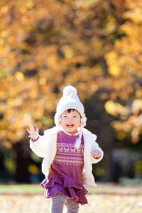 紅葉の公園を走る女の子の写真素材 [FYI02840014]