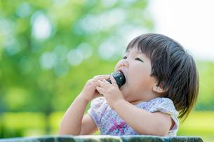 新緑の公園でおにぎりを食べる女の子の写真素材 [FYI02840216]