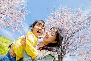 桜の咲く土手で母親に抱かれる娘の写真素材 [FYI02840311]