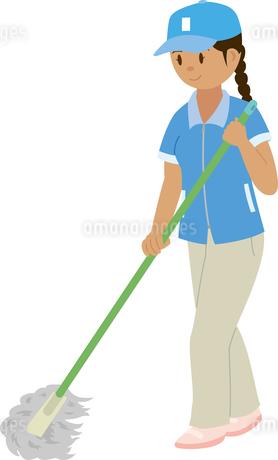 東南アジア系の女性清掃員のイラスト素材 [FYI02840466]