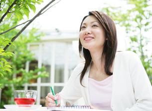 カフェにいる女性の写真素材 [FYI02846158]