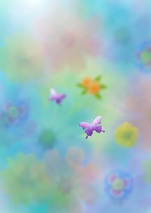 花と蝶によるカラフルな東洋のイメージのイラスト素材 [FYI02847512]