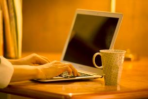 パソコンを操作する女性の手元の写真素材 [FYI02848080]