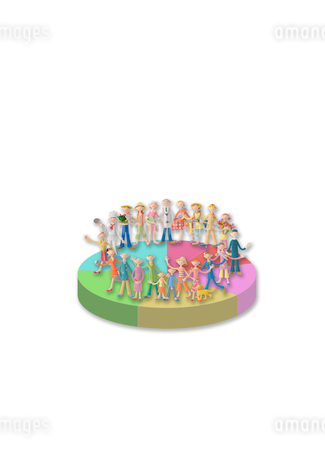 円グラフに乗るたくさんの人々 クラフトの写真素材 [FYI02848685]