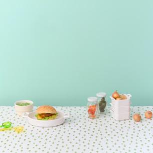 ハンバーガーと食材の写真素材 [FYI02848797]