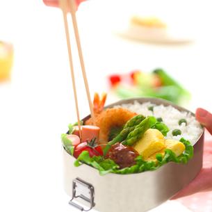 お弁当を盛りつける箸と手の写真素材 [FYI02848933]