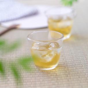 氷の入った冷たい緑茶の写真素材 [FYI02849531]