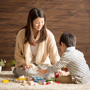 積み木で遊ぶ親子の写真素材 [FYI02849857]